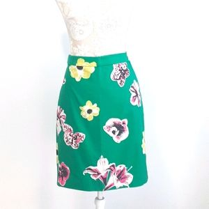 J. Crew green floral pencil skirt